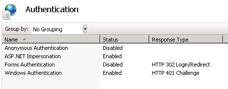 IIS Authentication section